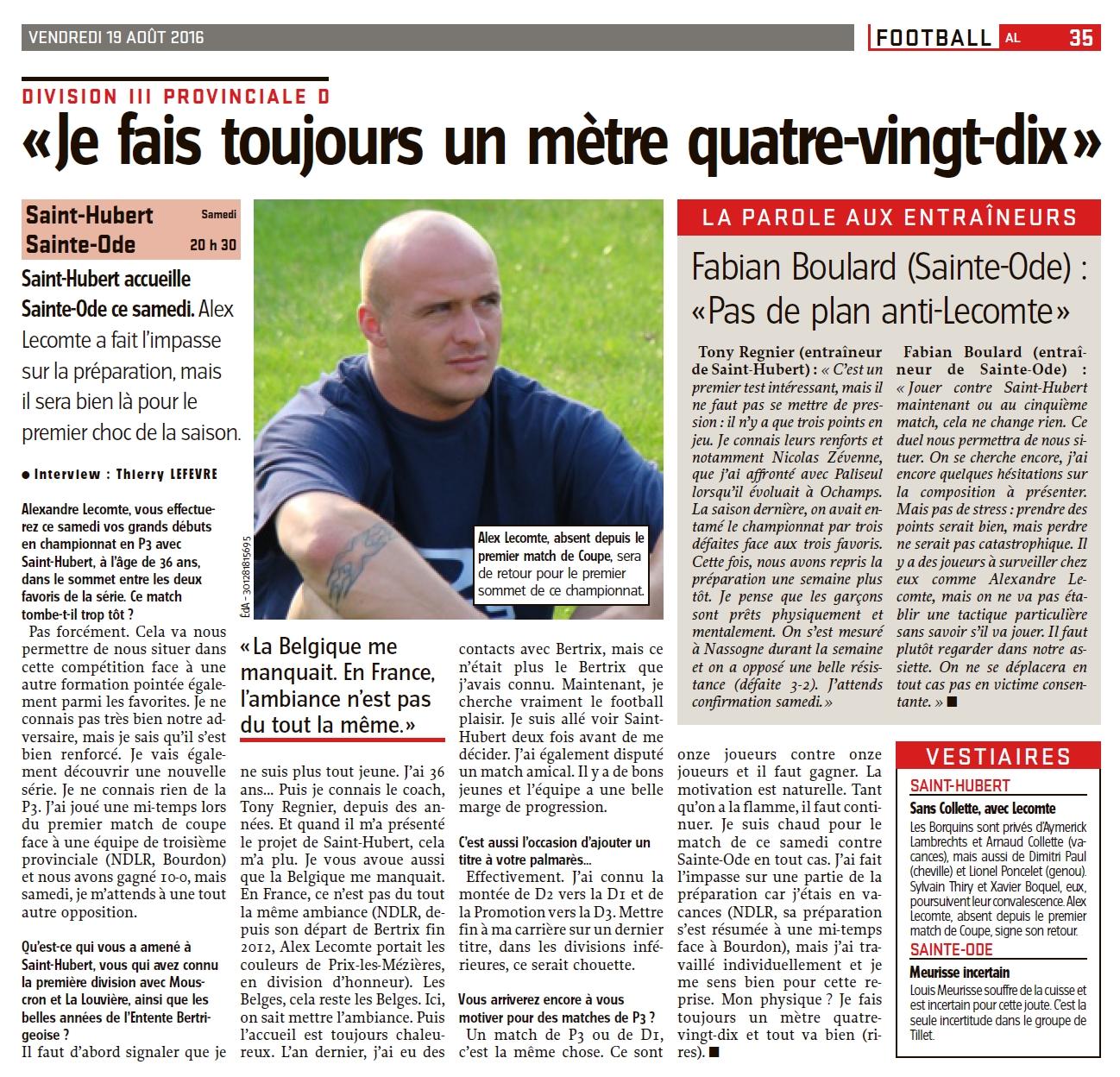 ITW Alex Lecomte