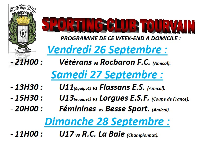 Week-end du 26 au 28 septembre