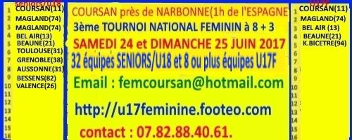 EURO LADY'S U17 : site officiel du tournoi de foot de COURSAN - footeo
