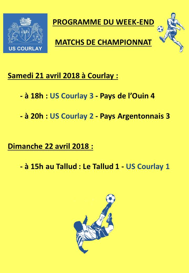 2018_04_19 Matchs_au_programme_du_week_end