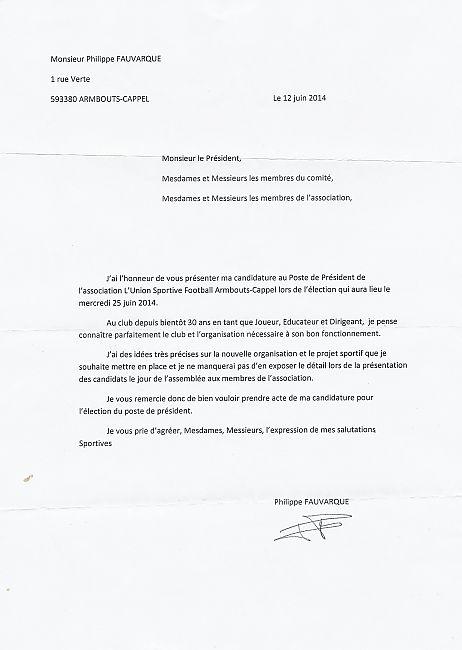 lettre de demission football lettre de candidature de F.P   club Football union sportive  lettre de demission football