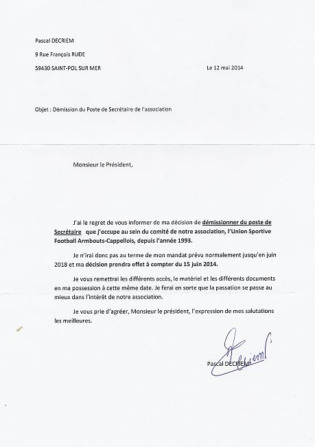 lettre de demission football lettre de démission de Pascal Decriem   club Football union  lettre de demission football