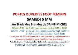 JOURNÉE PORTES OUVERTES FOOT FÉMININ DU 05 MAI 2018 - C.S. ST MICHEL/CHARENTE