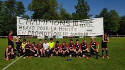Félicitations aux U15 A, champions de leur groupe qui accèdent à la Promotion
