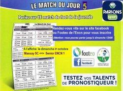 """Parions sport Journée 5 diimanche 21 octobre  """" Massay SC face à ENCN 1"""""""