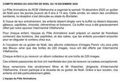 GOUTER DE NOEL DU SAMEDI 19 DECEMBRE 2020 - RACING CLUB de BELIGNY