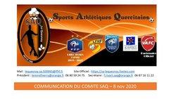 Communiqué Comité SAQ - 8 nov 2020 - Sports Athletiques Quercitains