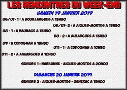 Programme du week-enddu 19 & 20 Janvier 2019