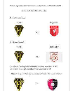 Matchs importants ce dimanche 16 décembre !