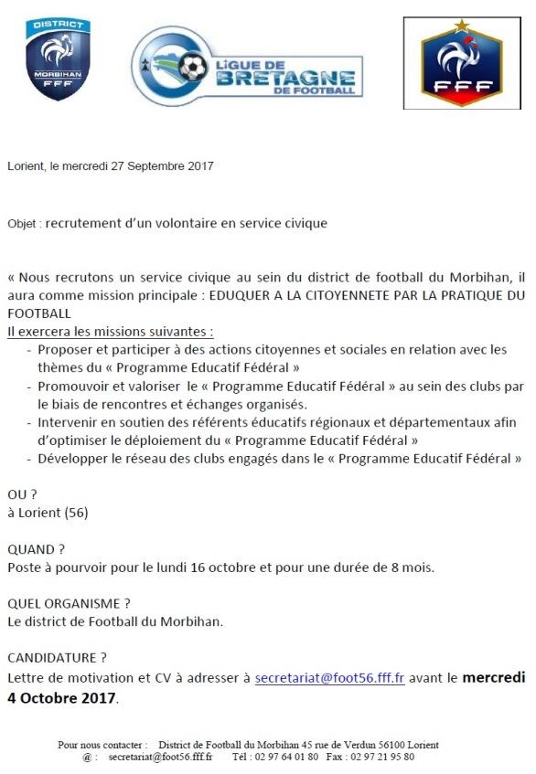 Actualité Le District Recrute Un Volontaire En Club