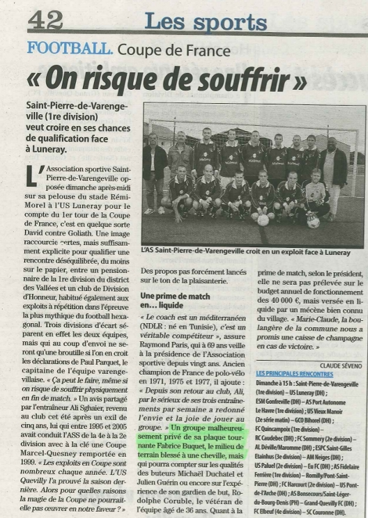 1er tour de la coupe de France contre Luneray