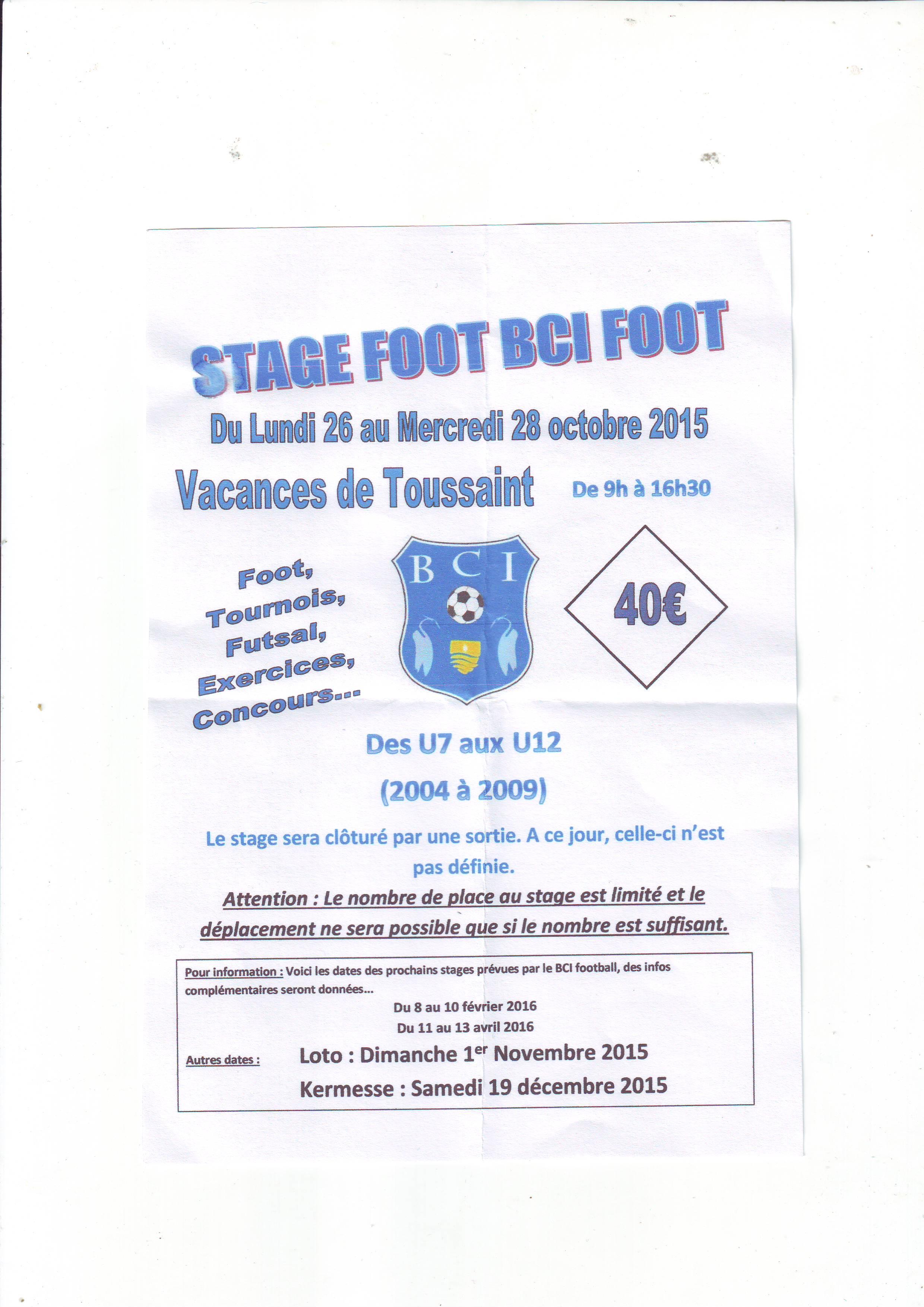 Stage toussaint 2015