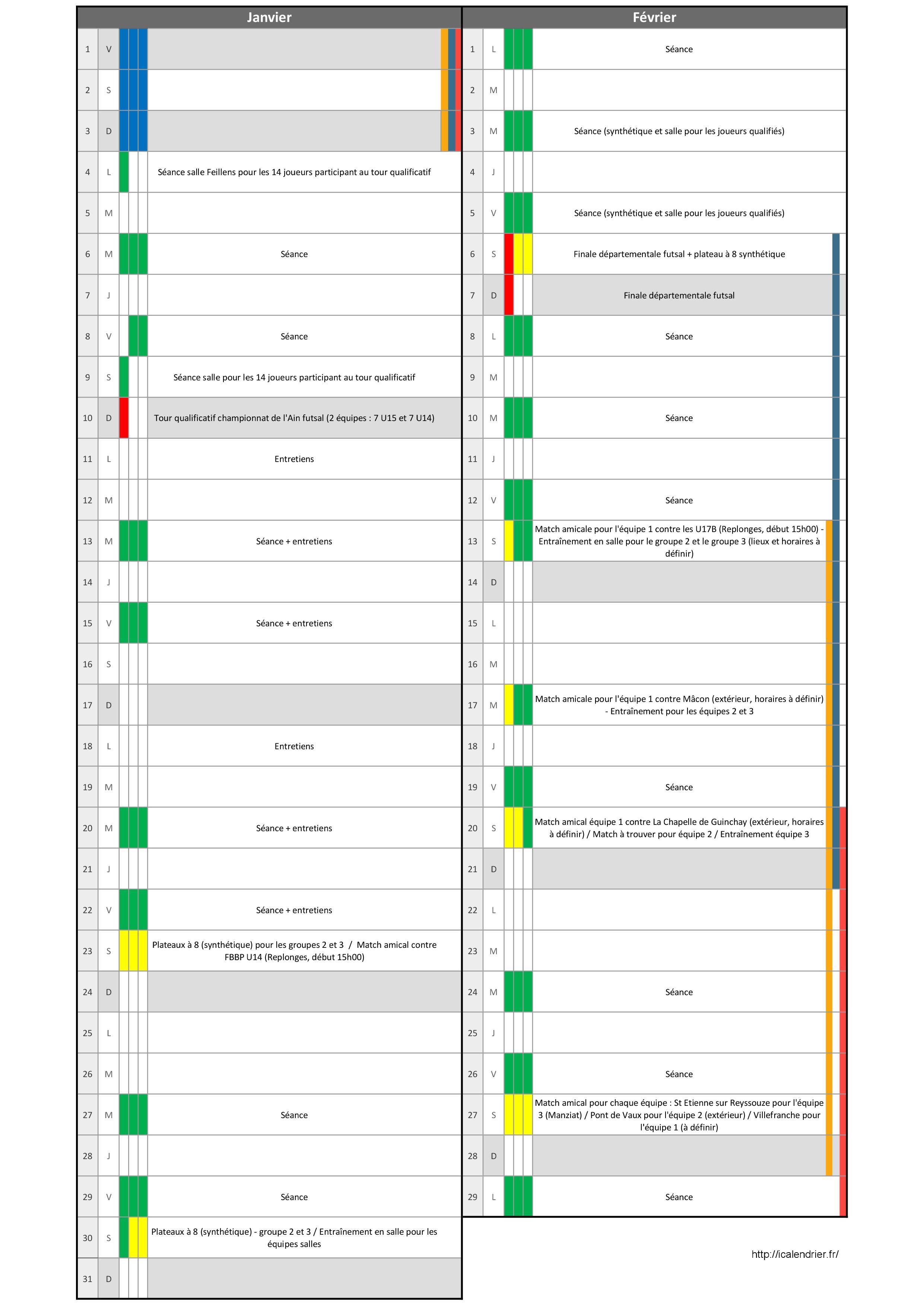 Planning U15 Janvier Février