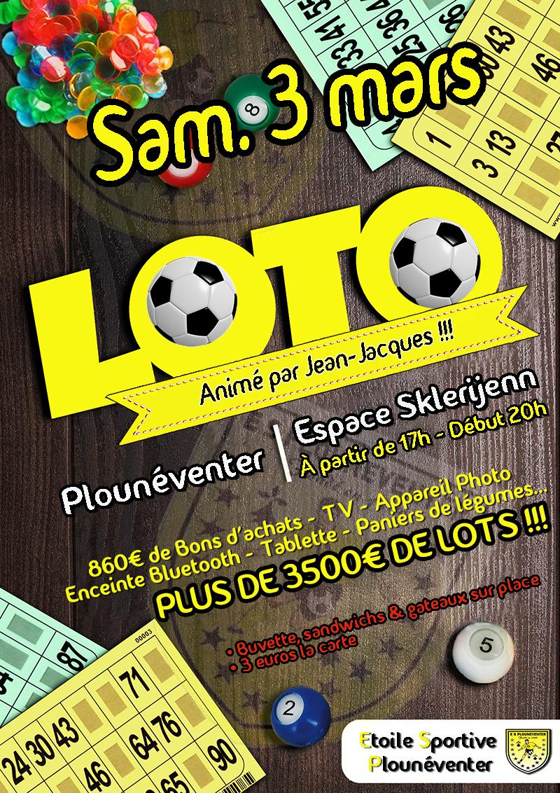 Super Loto le samedi 3 mars 2018, organisé par le club de foot de Plounéventer et animé par Jean Jacques