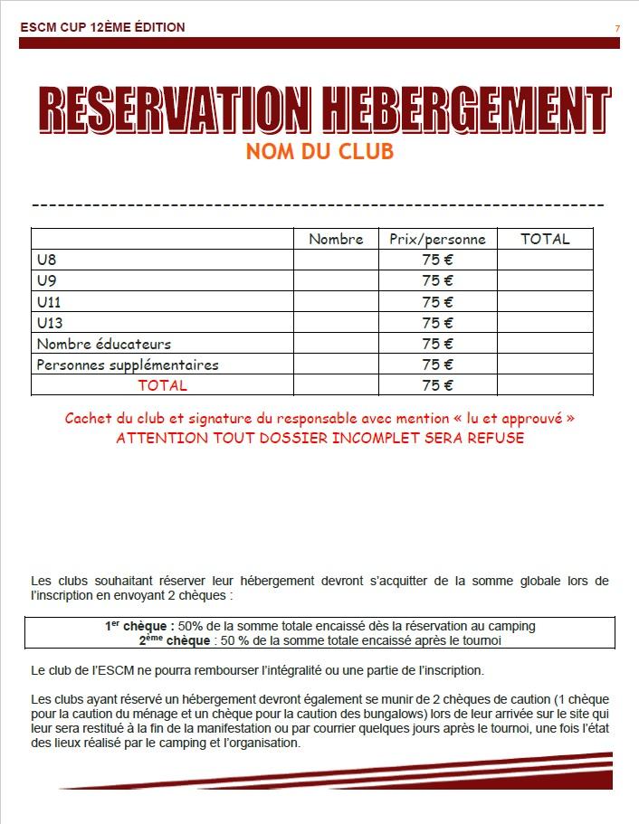 Fiche de réservation