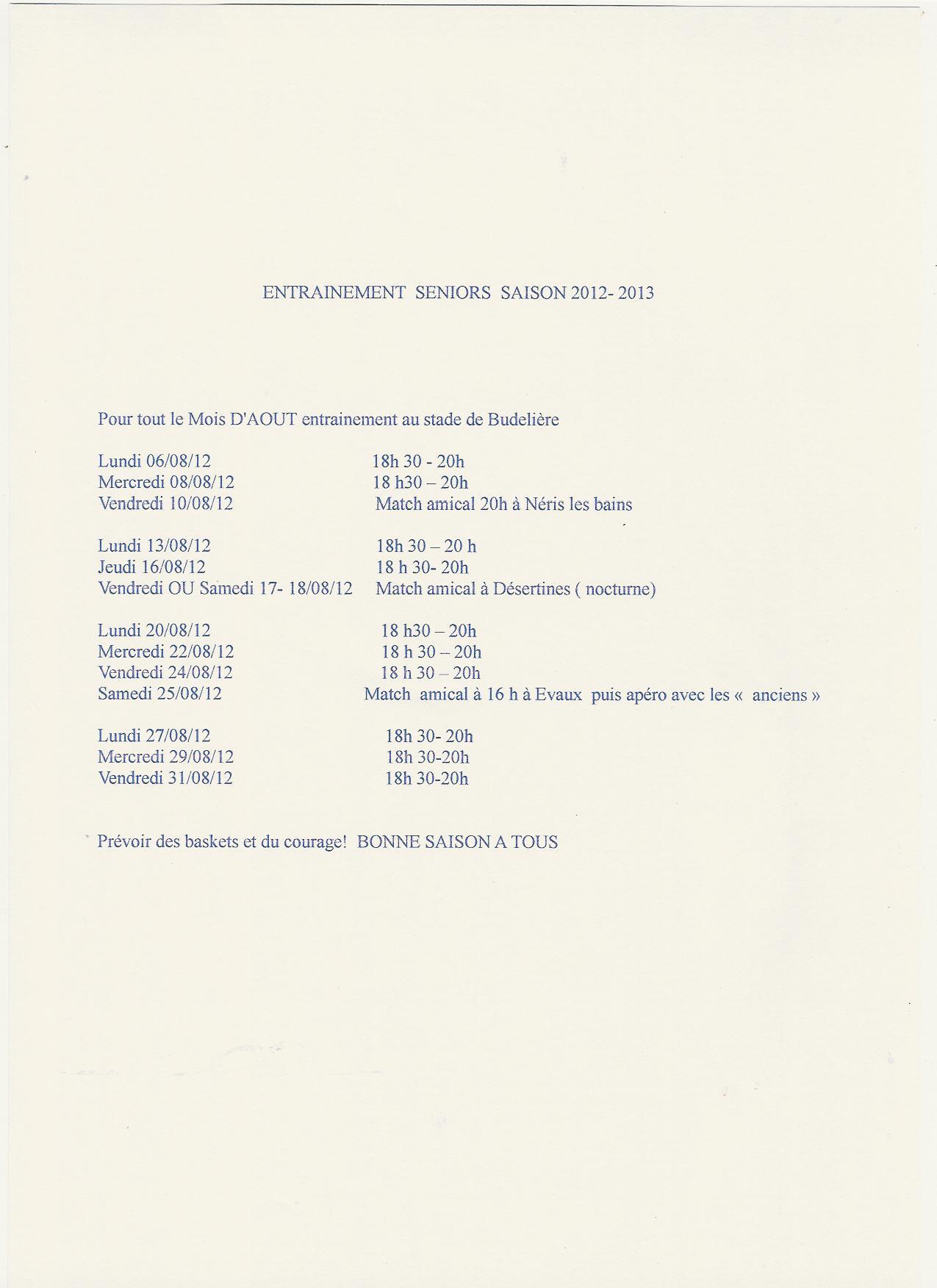 Programme d'entrainement