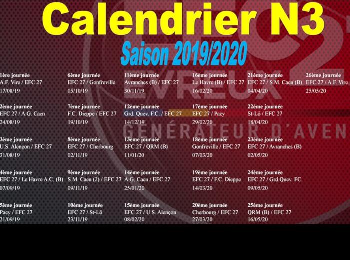 Qrm Calendrier.Actualite Calendrier N3 Club Football Evreux Fc 27 Footeo