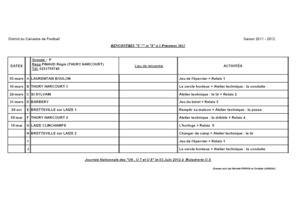 CALENDRIER U7 PRINTEMPS
