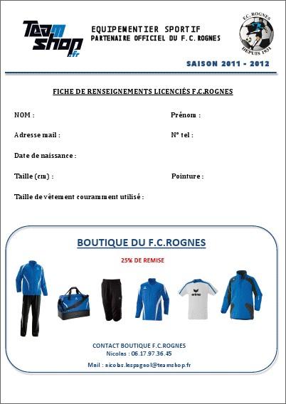 Fiche de renseignements FC Rognes