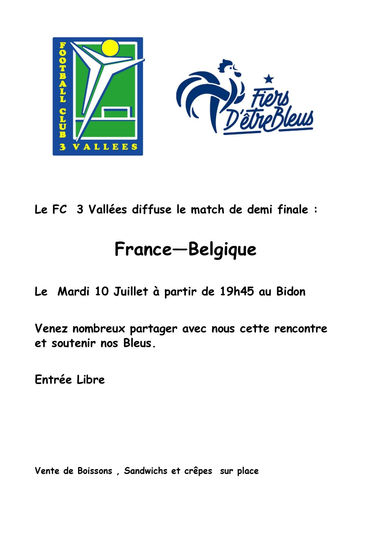 Match demi finale France Belgique