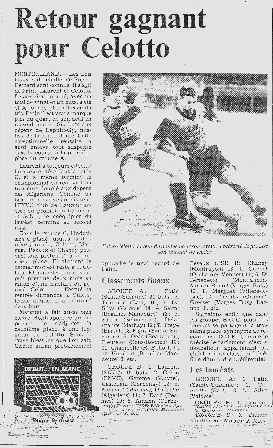 04/06/1991 - Retour gagnant pour CELOTTO