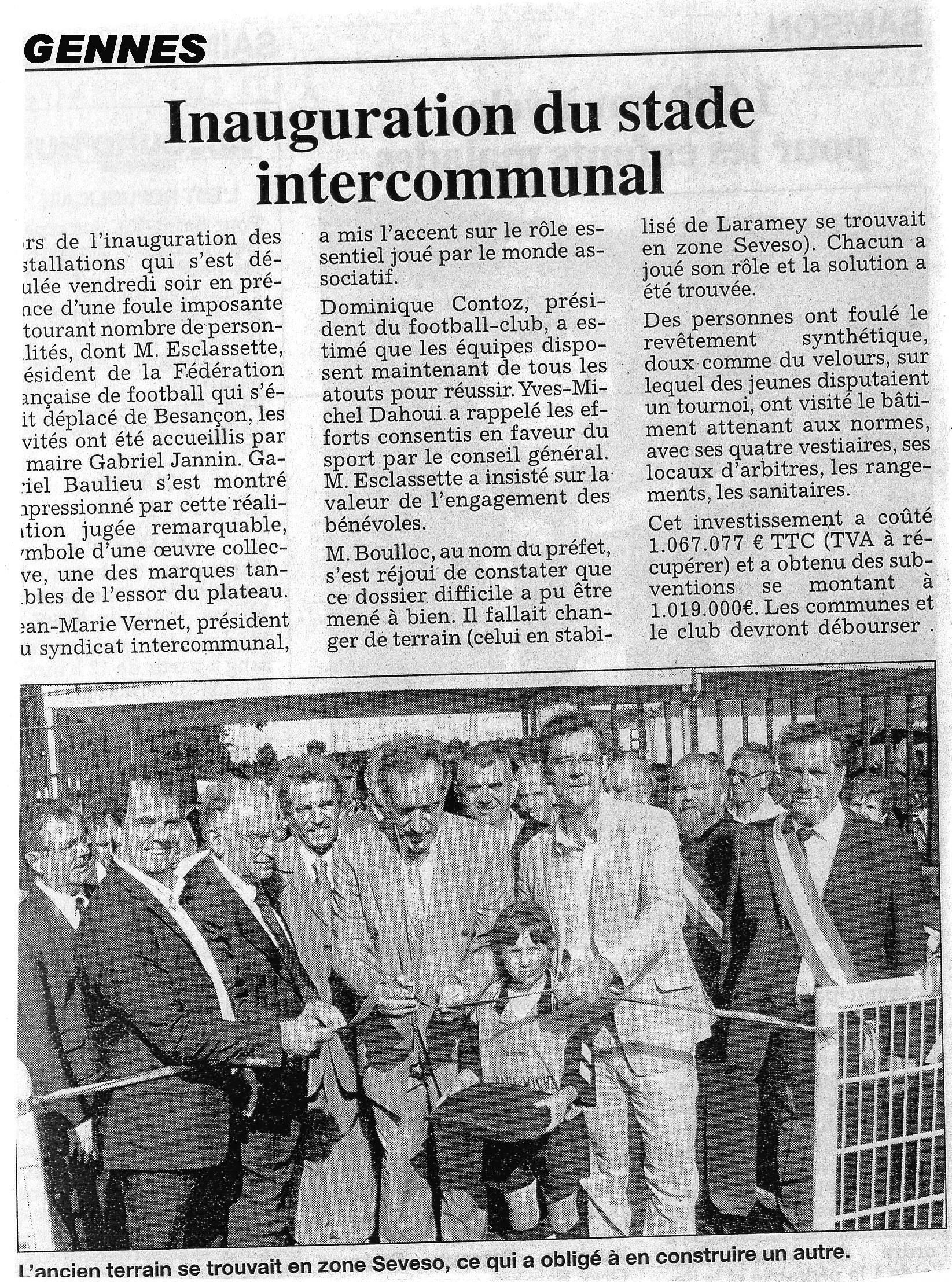 EST du 01/01/2007 - Inauguration du Stade de Gennes