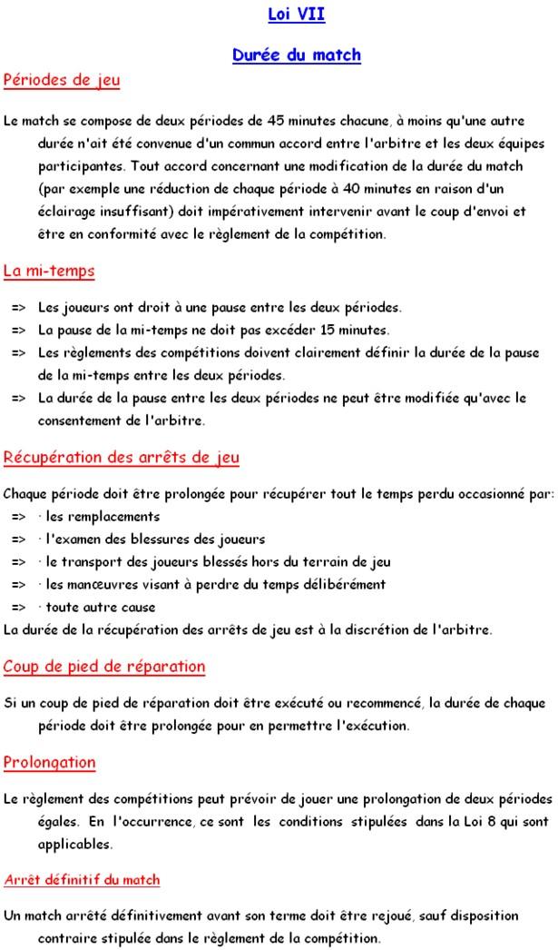 Loi 7 Duree Du Match Club Football F C Saint Georges Sur Eure Footeo