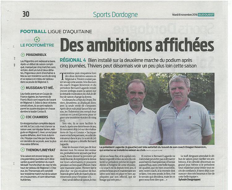 Sud-Ouest La Thibérienne Football 8 Novembre 2016