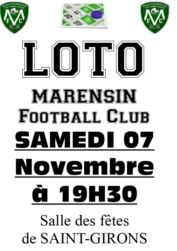 loto bingo vielle saint girons 19h30 marensin football club