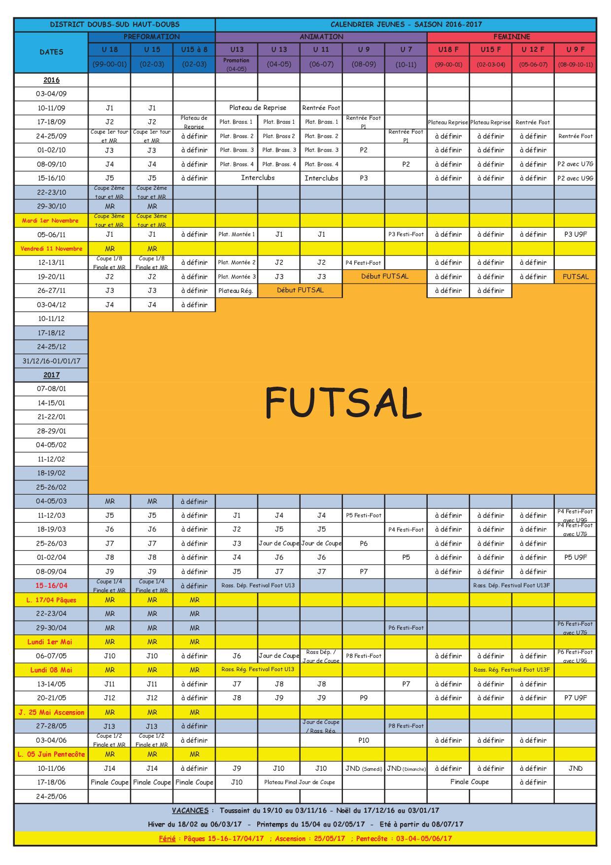 calendrier général jeunes 2016/2017