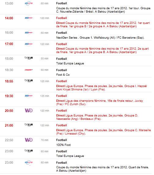 programme tv du 04/10/2012