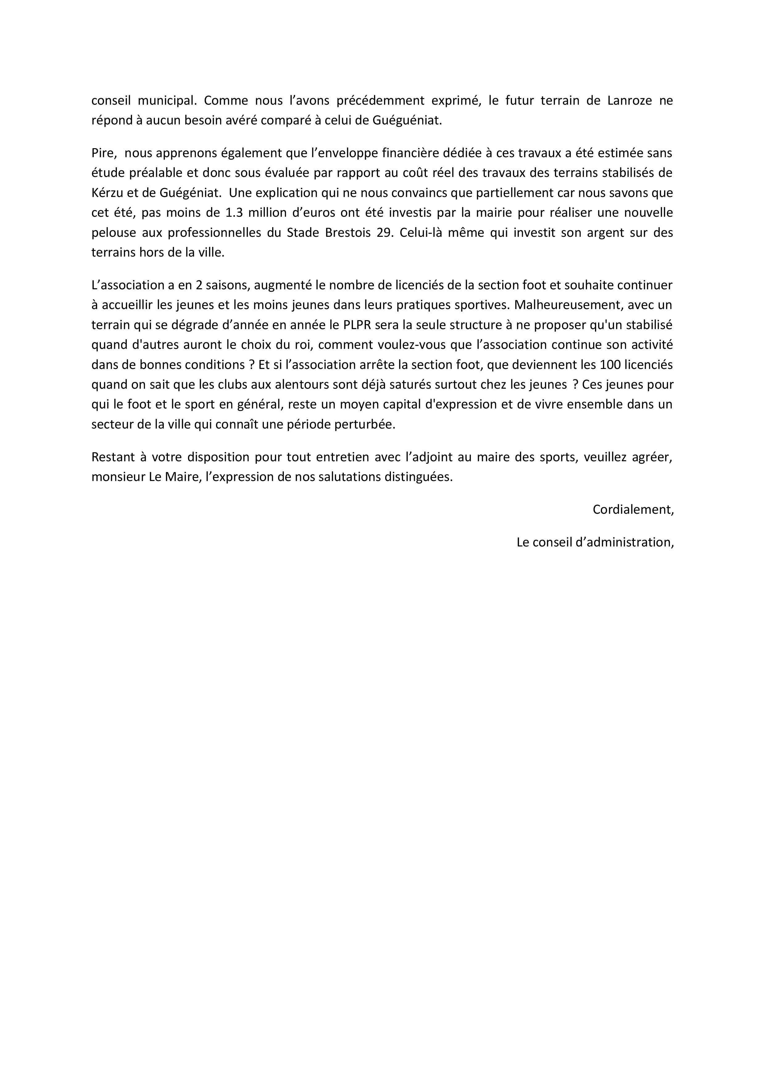Actualite Courrier A Mr Le Maire De Brest Club Football