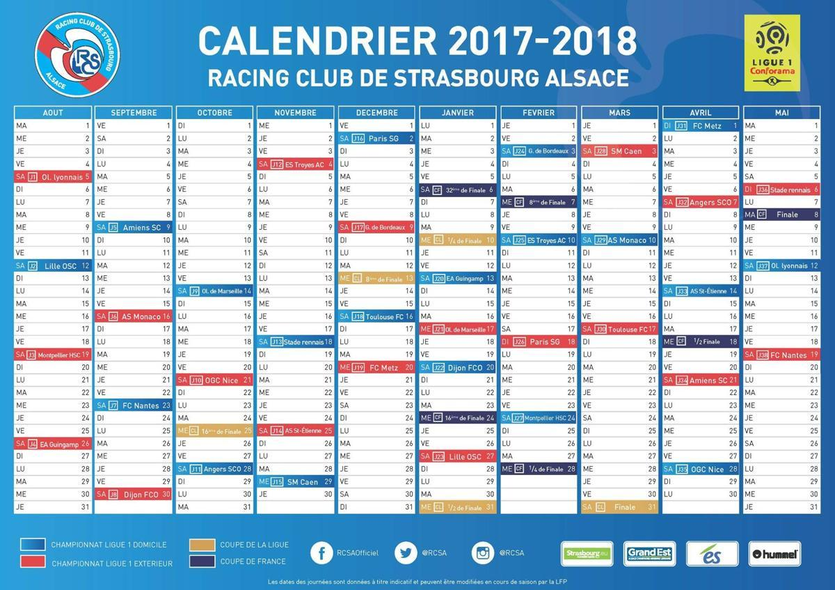 Calendrier Racing Club De Strasbourg.Actualite Le Calendrier De La Ligue 1 Club Football Rc