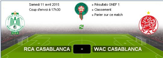 Concours De Pronostics Resultat Du Derby Casablanca Wac Vs Rca