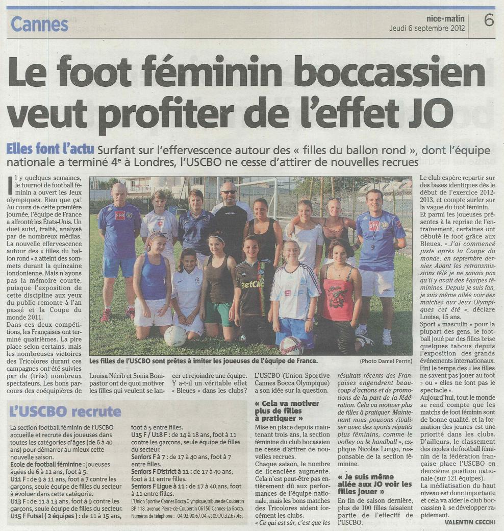 NICE MATIN 6-9-2012 - LE FOOT FEMININ BOCCASSIEN
