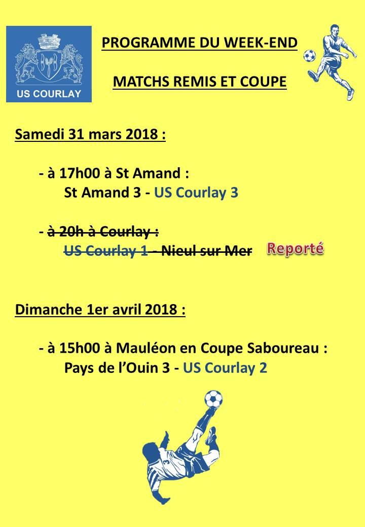 2018_03_29 Matchs_au_programme_du_week_end