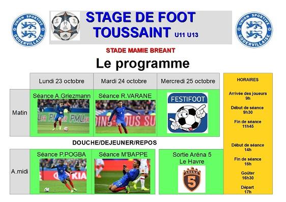Programme stage Toussaint U11 U13
