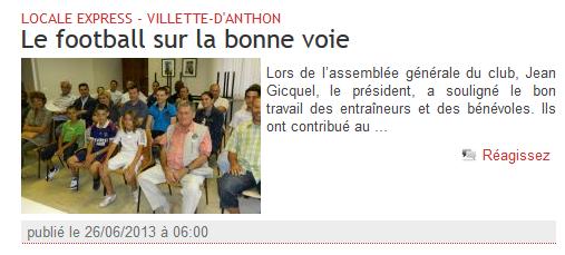 article du dauphiné libéré du 26-06-2013